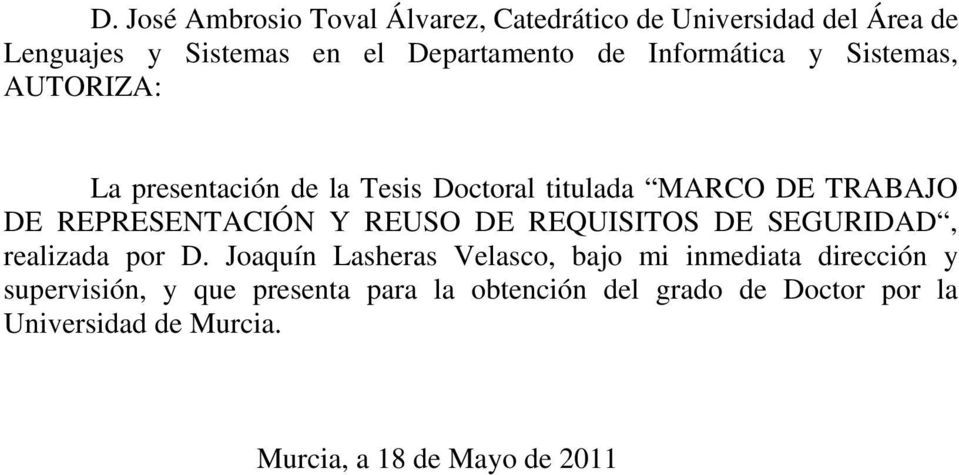 Y REUSO DE REQUISITOS DE SEGURIDAD, realizada por D.