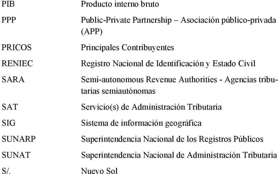 Nacional de Identificación y Estado Civil Semi-autonomous Revenue Authorities - Agencias tributarias semiautónomas