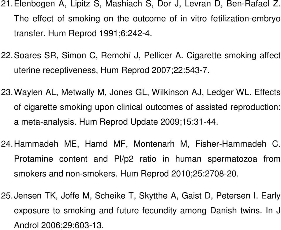 Effects of cigarette smoking upon clinical outcomes of assisted reproduction: a meta-analysis. Hum Reprod Update 2009;15:31-44. 24. Hammadeh ME, Hamd MF, Montenarh M, Fisher-Hammadeh C.