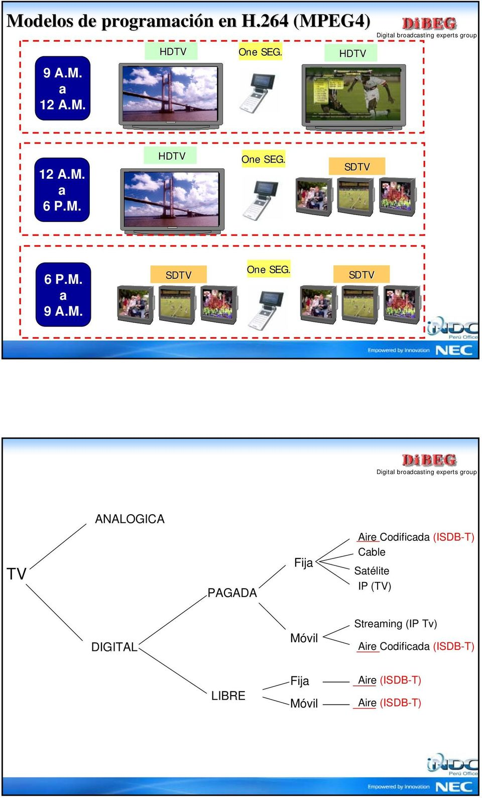 SDTV ANALOGICA TV PAGADA Fija Aire Codificada (ISDB-T) Cable Satélite IP (TV)