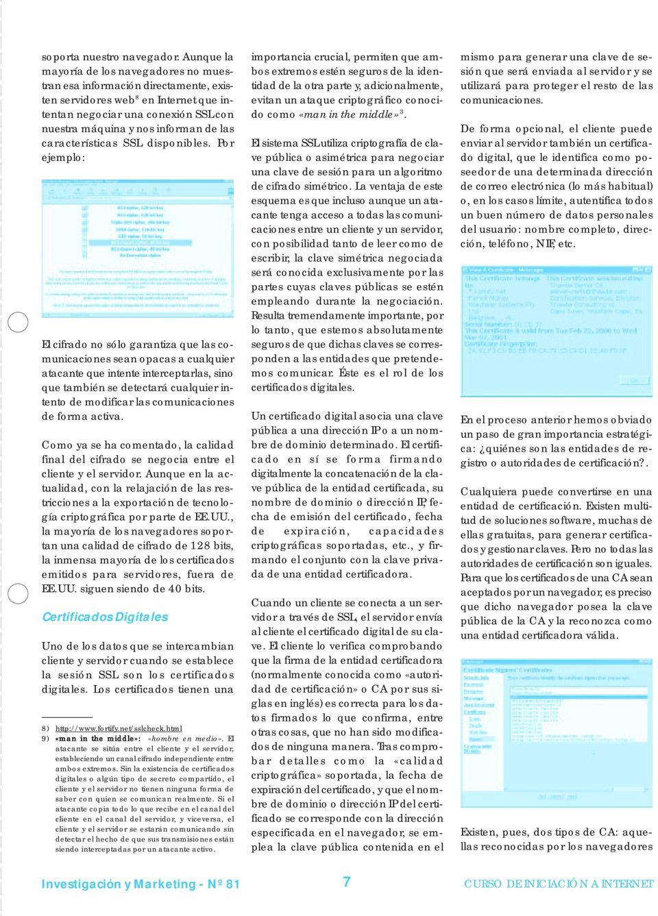 características SSL disponibles.