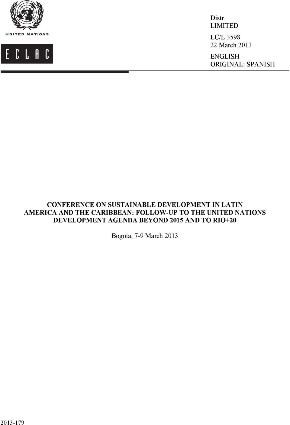SUSTAINABLE DEVELOPMENT IN LATIN AMERICA AND THE CARIBBEAN: