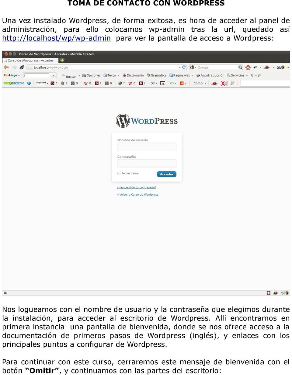 escritorio de Wordpress.