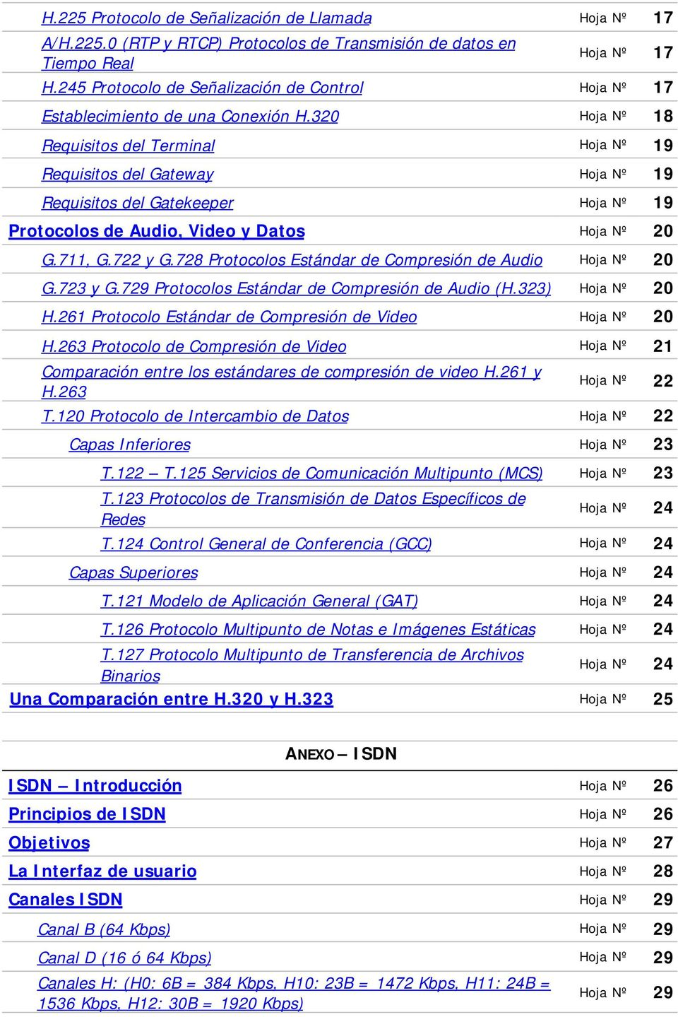 320 Hoja Nº 18 Requisitos del Terminal Hoja Nº 19 Requisitos del Gateway Hoja Nº 19 Requisitos del Gatekeeper Hoja Nº 19 Protocolos de Audio, Video y Datos Hoja Nº 20 G.711, G.722 y G.