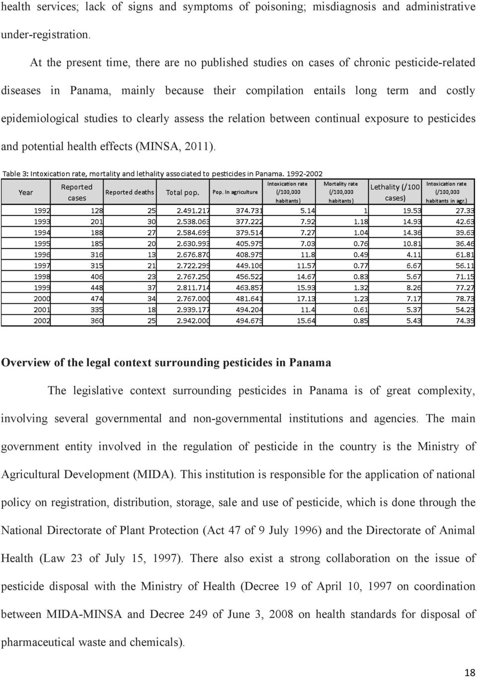 clearly assess the relation between continual exposure to pesticides and potential health effects (MINSA, 2011).