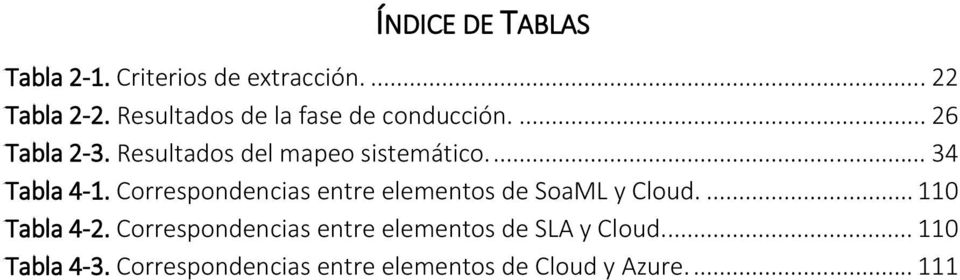 ... 34 Tabla 4-1. Correspondencias entre elementos de SoaML y Cloud.... 110 Tabla 4-2.