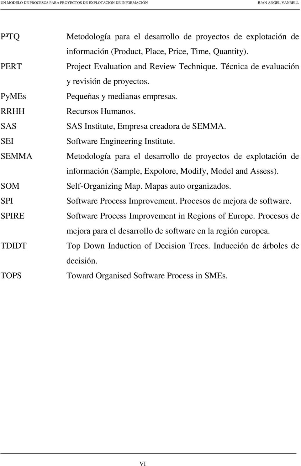 Software Engineering Institute. Metodología para el desarrollo de proyectos de explotación de información (Sample, Expolore, Modify, Model and Assess). Self-Organizing Map. Mapas auto organizados.