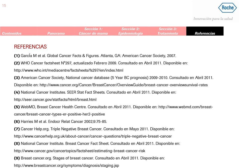 Disponible en: http://www.cancer.org/cancer/breastcancer/overviewguide/breast-cancer-overviewsurvival-rates (4) National Cancer Institutes. SEER Stat Fact Sheets. Consultado en Abril 2011.