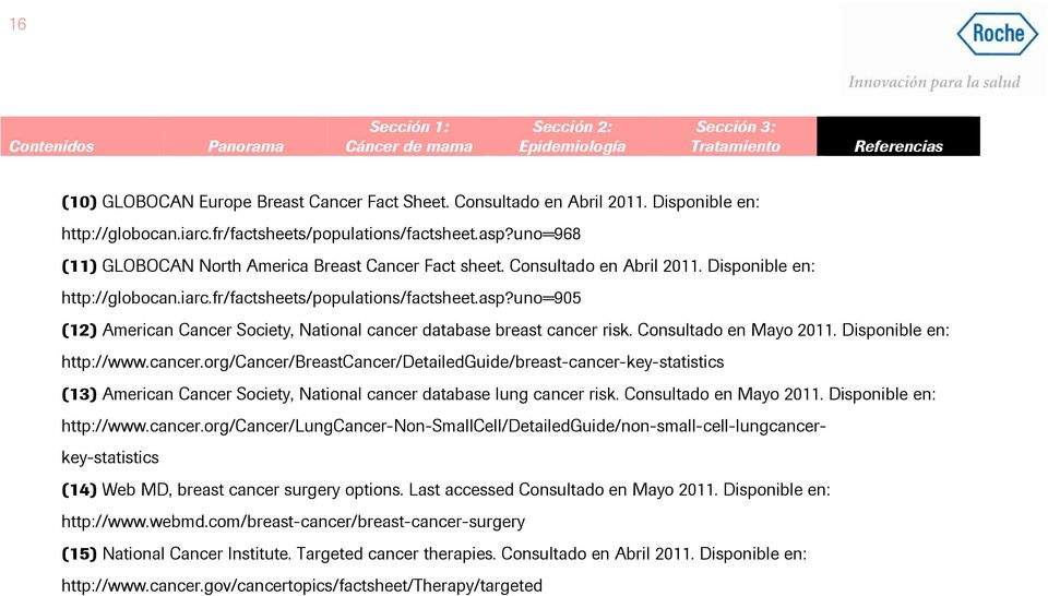uno=905 (12) American Cancer Society, National cancer database breast cancer risk. Consultado en Mayo 2011. Disponible en: http://www.cancer.org/cancer/breastcancer/detailedguide/breast-cancer-key-statistics (13) American Cancer Society, National cancer database lung cancer risk.