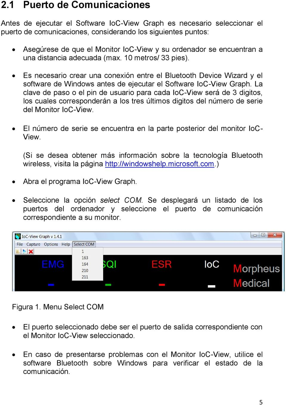 Es necesario crear una conexión entre el Bluetooth Device Wizard y el software de Windows antes de ejecutar el Software IoC-View Graph.