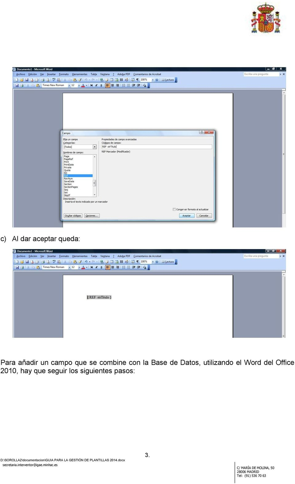 Datos, utilizando el Word del Office