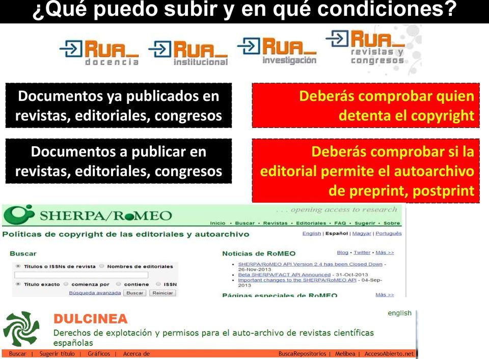 comprobar quien detenta el copyright Documentos a publicar en