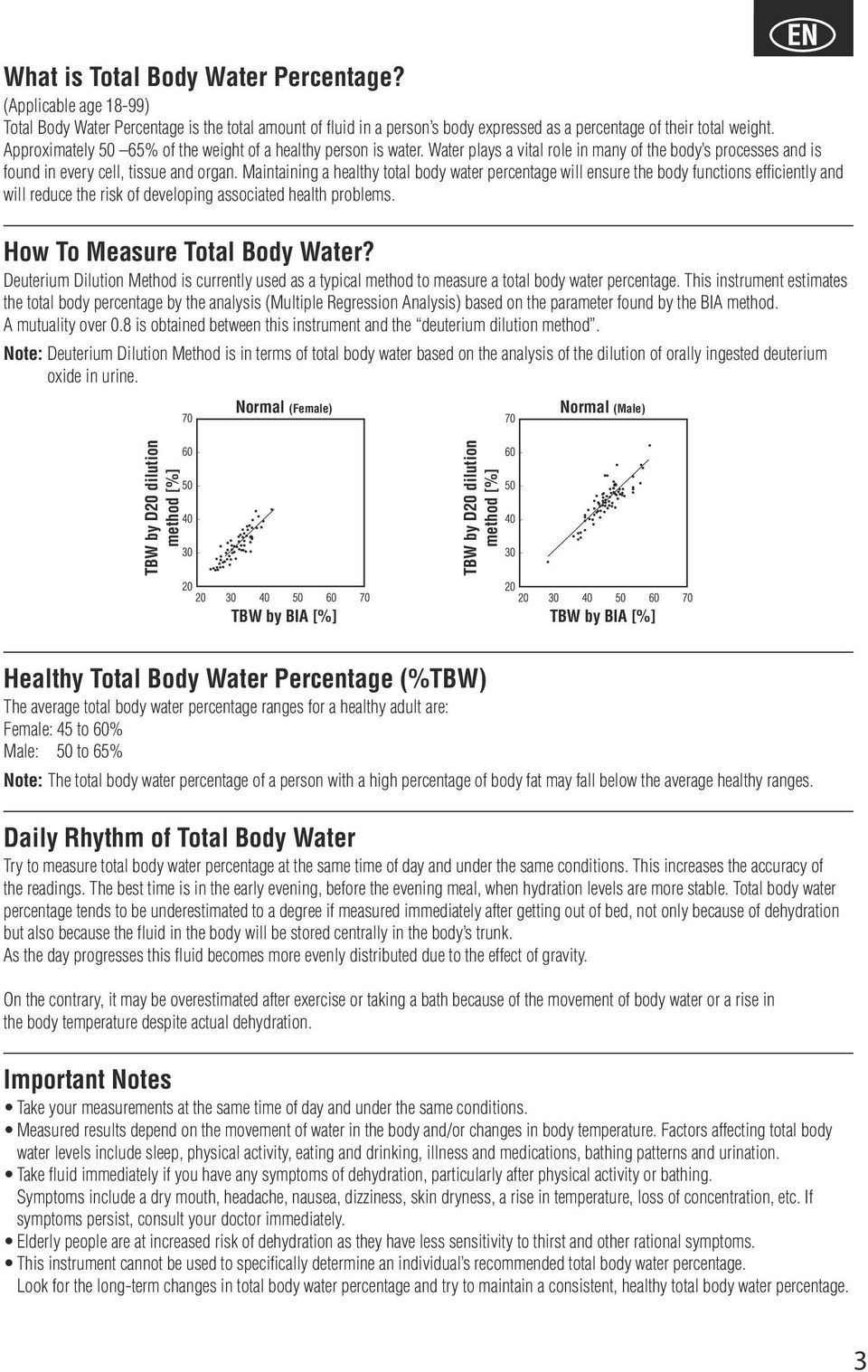 Maintaining a healthy total body water percentage will ensure the body functions efficiently and will reduce the risk of developing associated health problems. How To Measure Total Body Water?