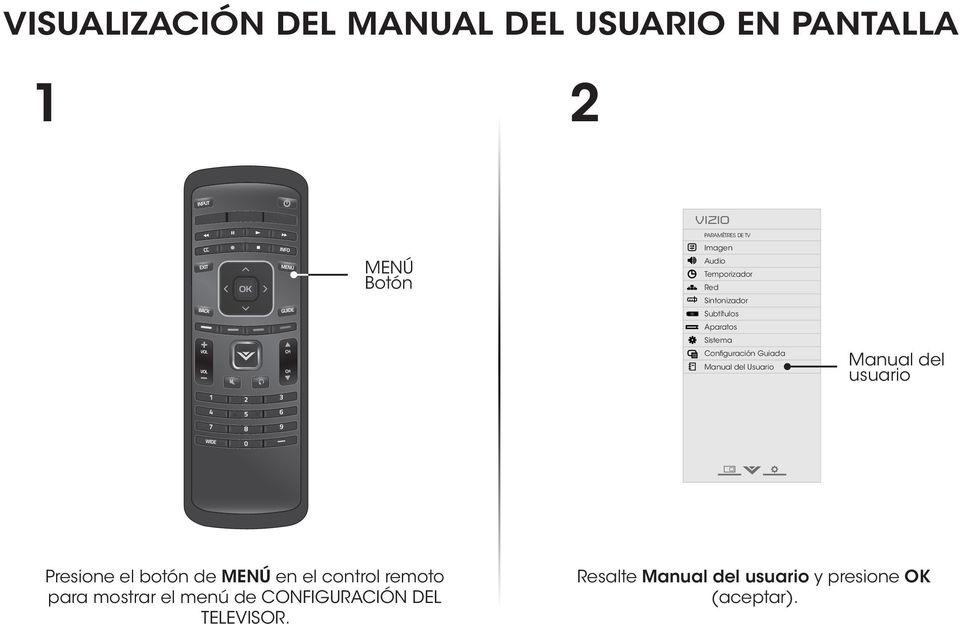 Usuario Input Wide CC Manual del usuario Sleep Timer Picture Audio Network Settings Help Presione el botón de MENÚ en