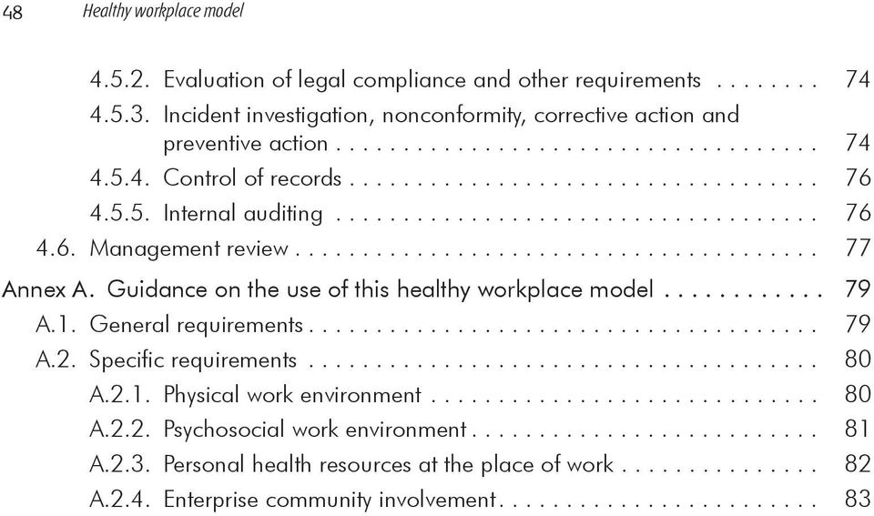 ... 77 Annex A. Guidance on the use of this healthy workplace model.... 79 A.1. General requirements.... 79 A.2. Specific requirements... 80 A.2.1. Physical work environment.