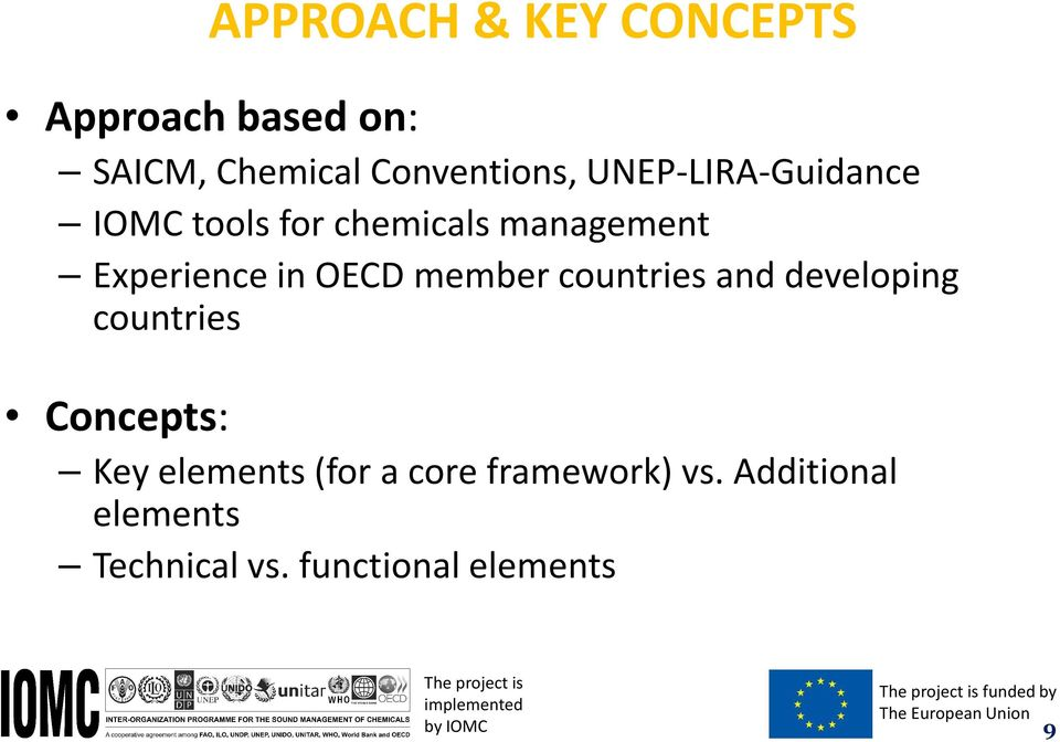 countries Concepts: Key elements (for a core framework) vs. Additional elements Technical vs.