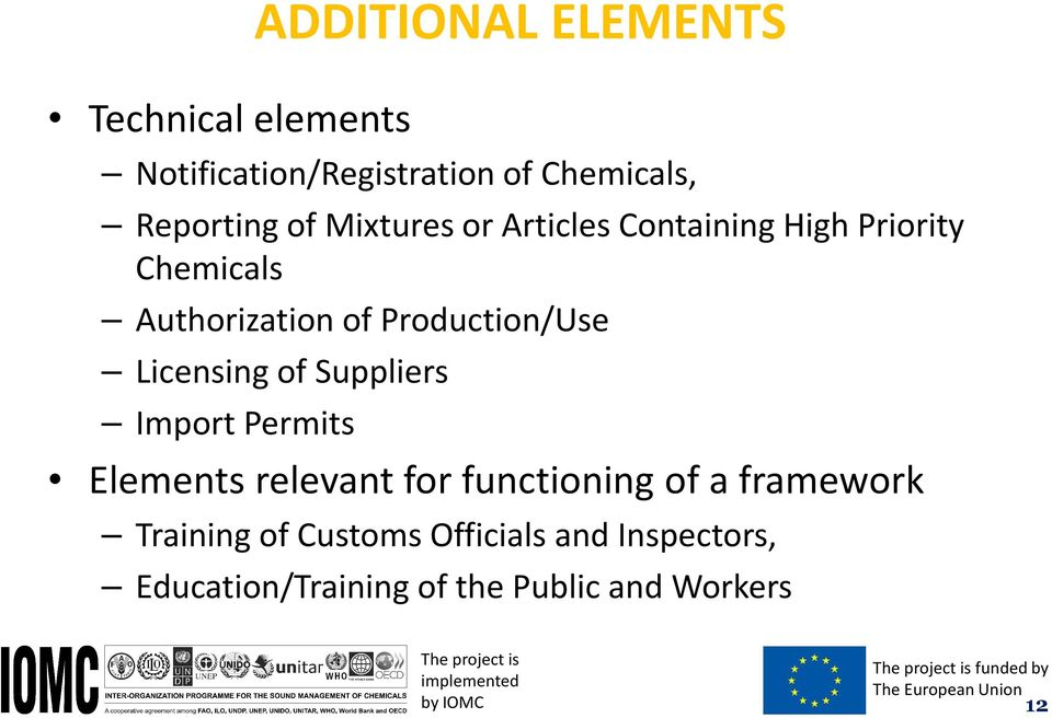 Permits Elements relevant for functioning of a framework Training of Customs Officials and Inspectors,