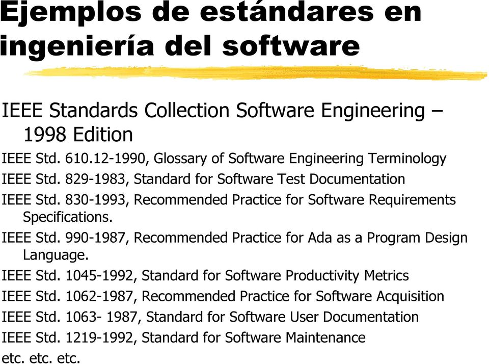 830-1993, Recommended Practice for Software Requirements Specifications. IEEE Std. 990-1987, Recommended Practice for Ada as a Program Design Language. IEEE Std. 1045-1992, Standard for Software Productivity Metrics IEEE Std.