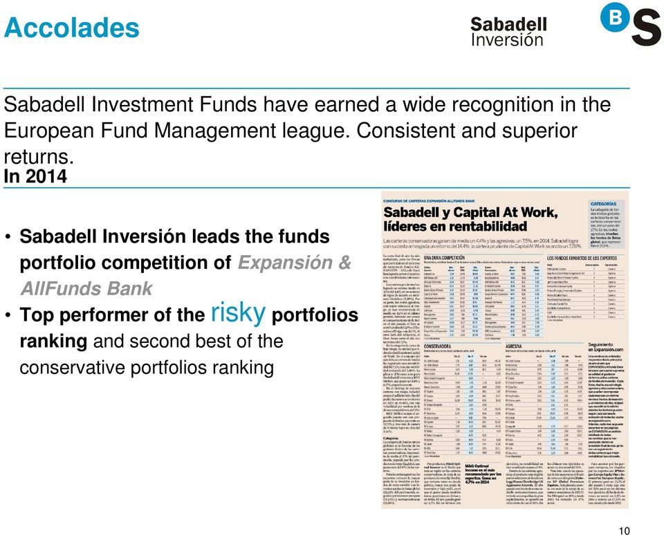 In 2014 Sabadell Inversión leads the funds portfolio competition of Expansión &