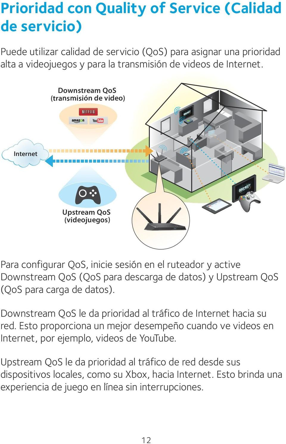 QoS (QoS para carga de datos). Downstream QoS le da prioridad al tráfico de Internet hacia su red.