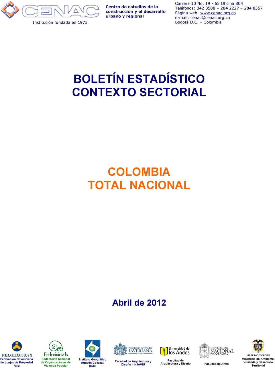 ESTADÍSTCO CONTEXTO SECTORAL COLOMBA TOTAL