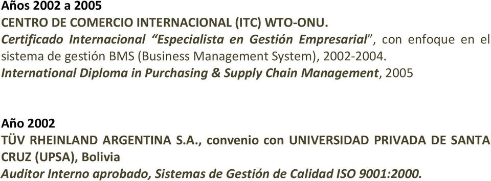 (Business Management System), 2002-2004.