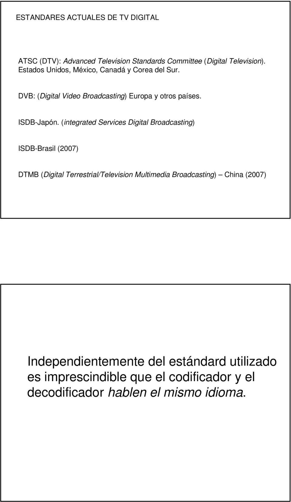(integrated Services Digital Broadcasting) ISDB-Brasil (2007) DTMB (Digital Terrestrial/Television Multimedia