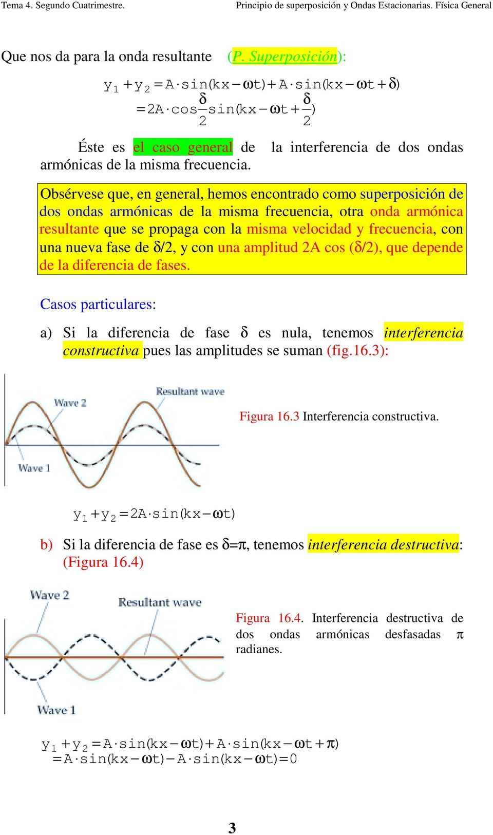 δ/, y co ua amplitud A cos (δ/), que depede de la diferecia de fases. Casos particulares: a) Si la diferecia de fase δ es ula, teemos iterferecia costructiva pues las amplitudes se suma (fig.6.