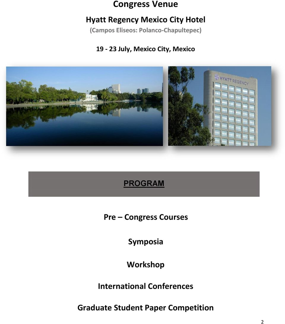 Mexico PROGRAM Pre Congress Courses Symposia Workshop