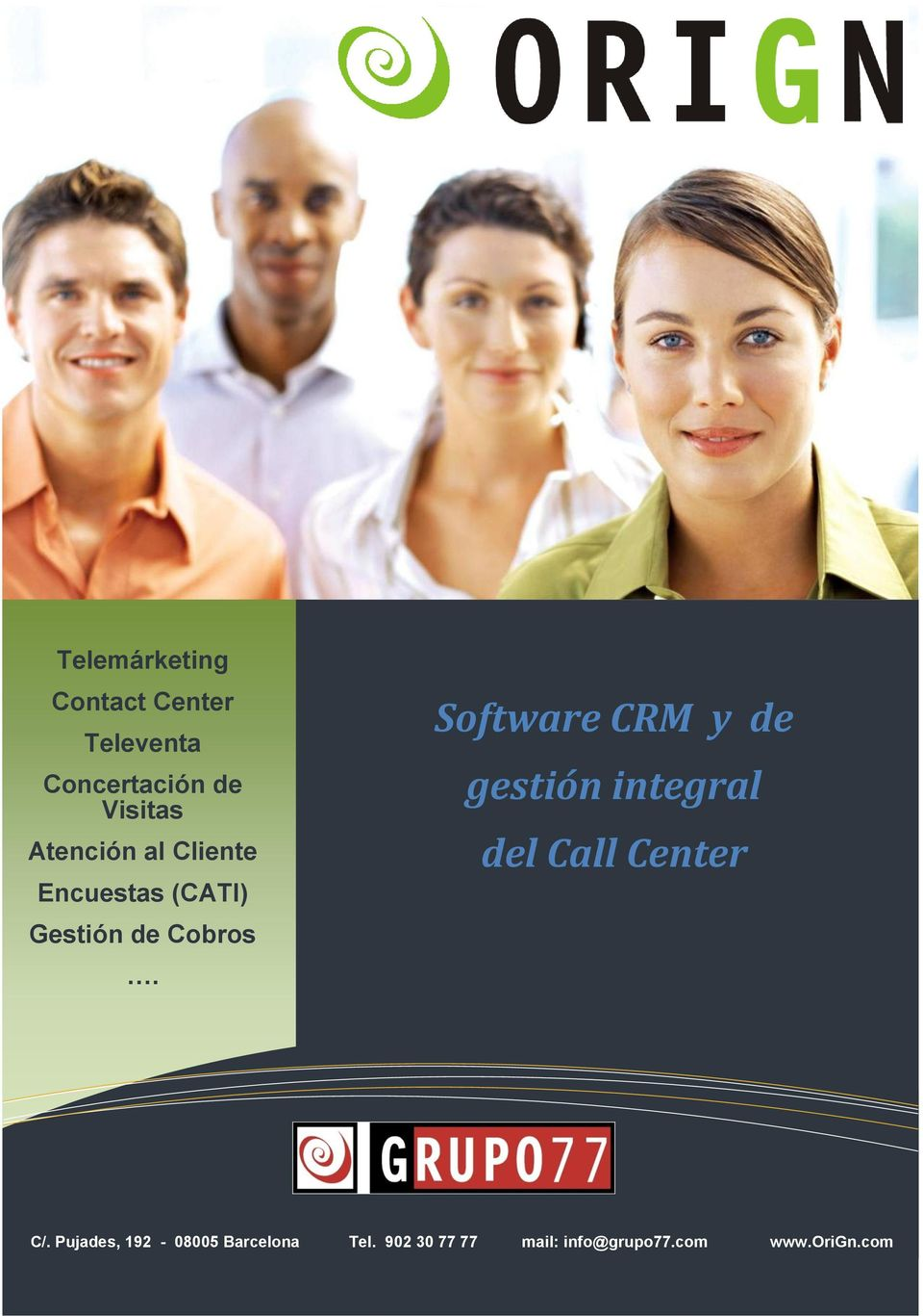 Software CRM y de gestión integral del Call Center C/.