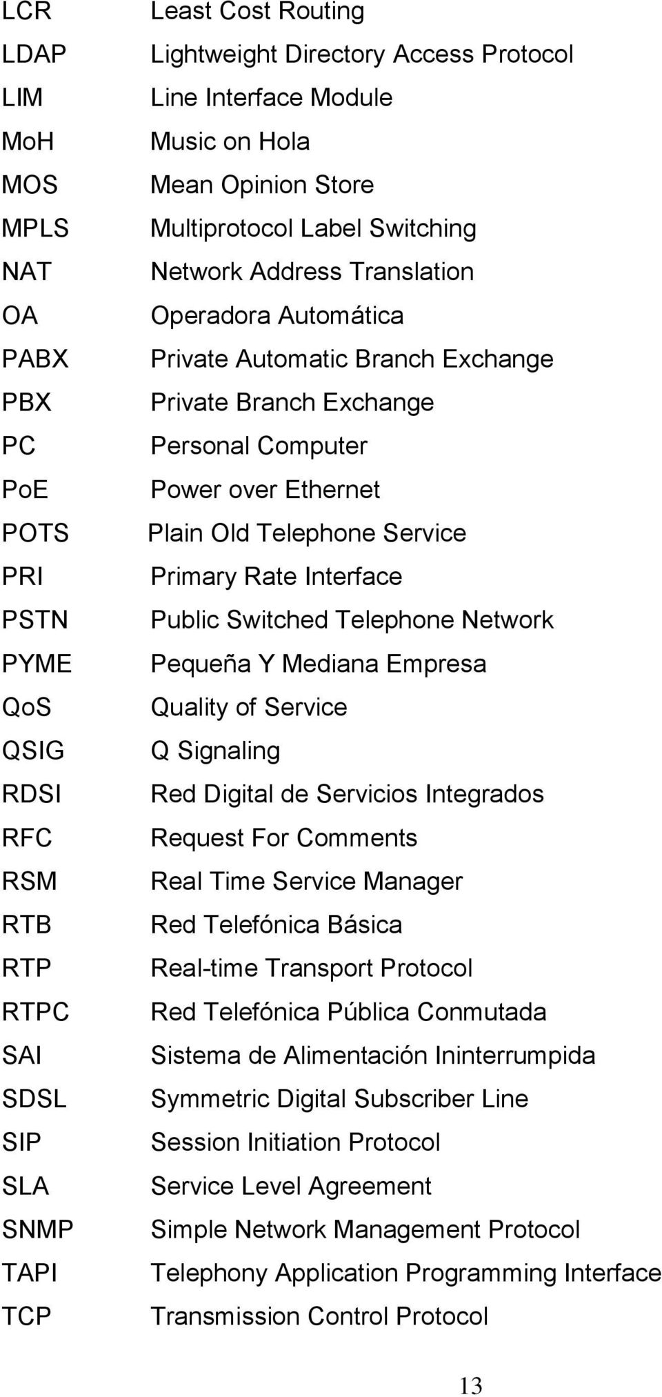 Computer Power over Ethernet Plain Old Telephone Service Primary Rate Interface Public Switched Telephone Network Pequeña Y Mediana Empresa Quality of Service Q Signaling Red Digital de Servicios