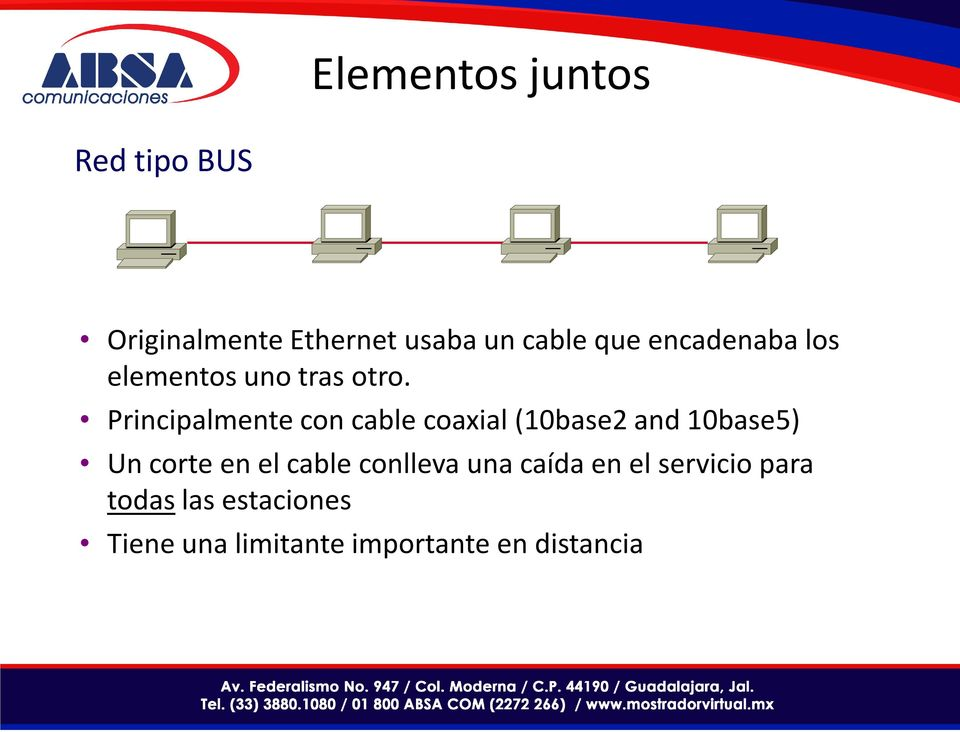 Principalmente con cable coaxial (10base2 and 10base5) Un corte en el
