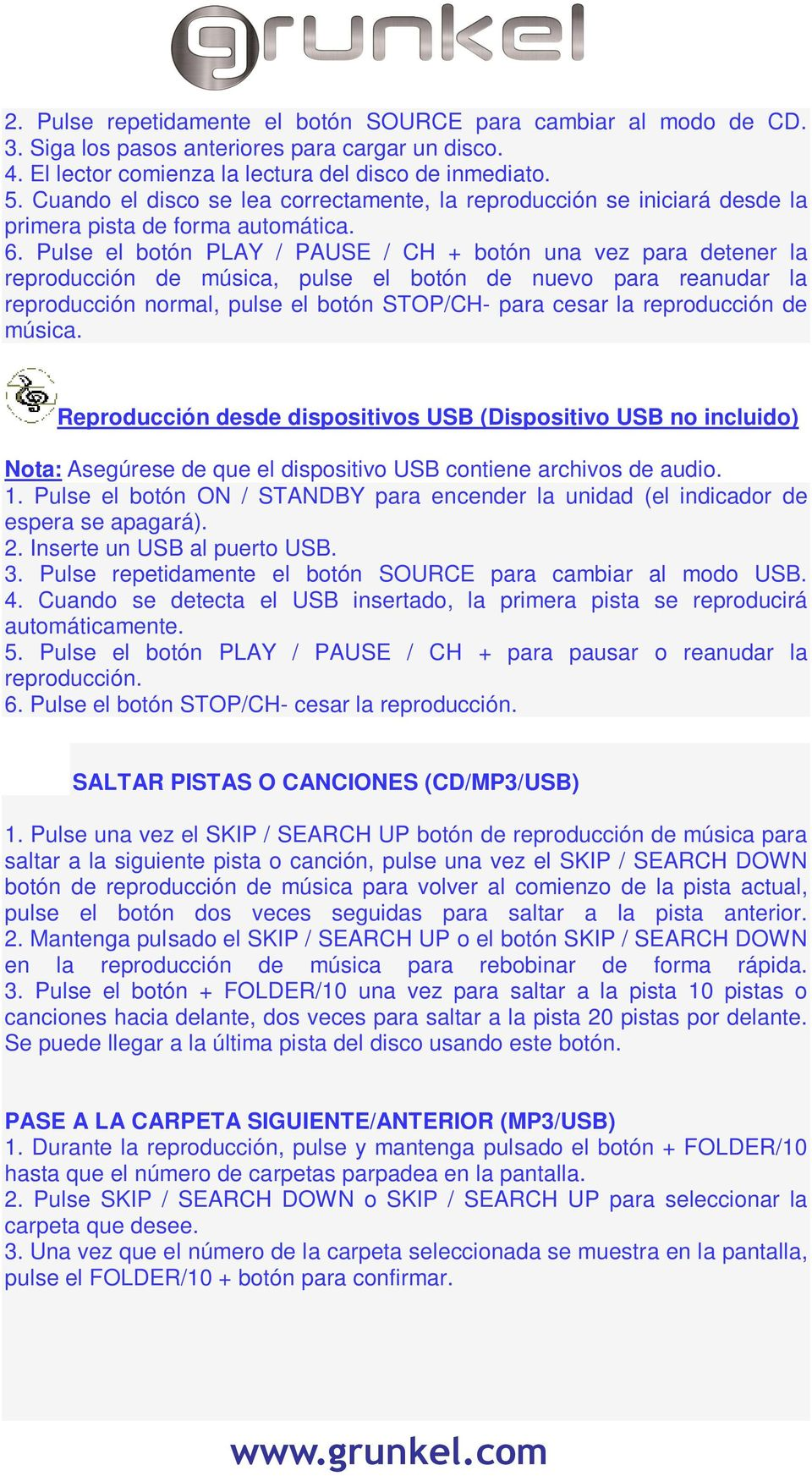 MANUAL DE INTRUCCIONES RADIO CD/MP3 CON LECTOR USB Y RADIO FM - PDF