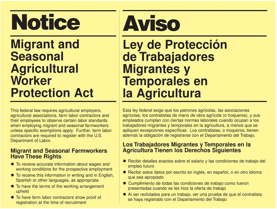 Migrant and Seasonal Farmworkers Have These Rights To receive accurate information about wages and working conditions for the prospective employment To receive this information in writing and in