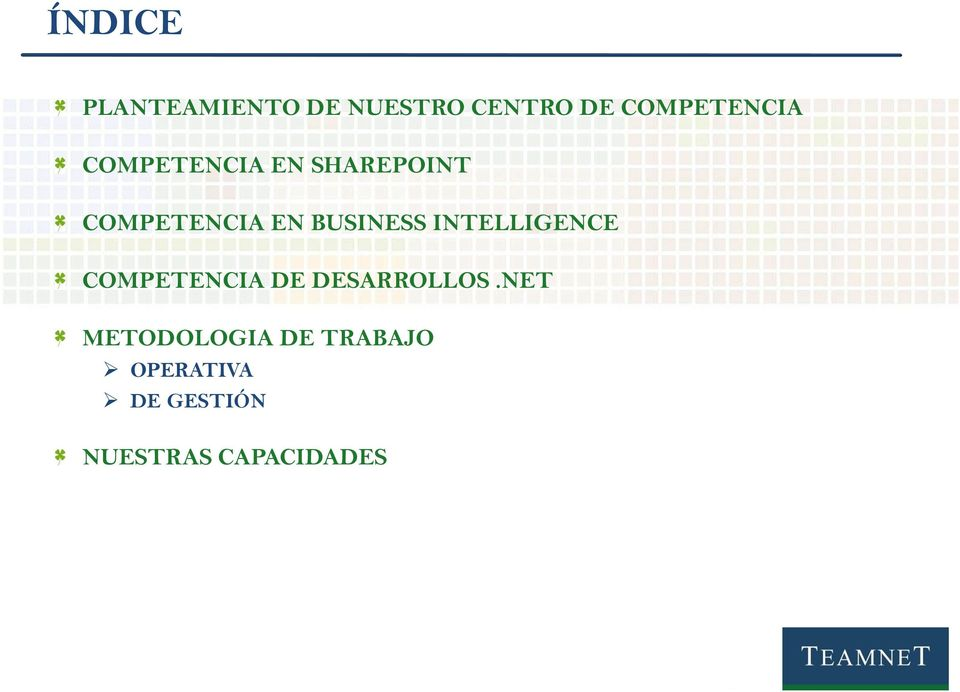 BUSINESS INTELLIGENCE COMPETENCIA DE DESARROLLOS.