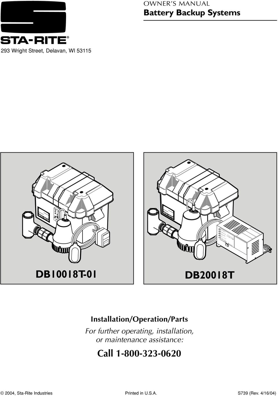 RGED GRE N AUD B E A ARM D SA LE DB10018T-01 DB20018T Installation/Operation/Parts For further operating,