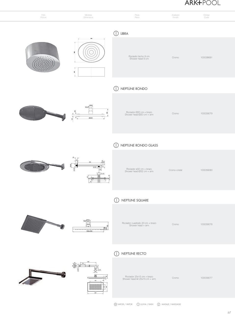 brazo Shower head Ø32 cm + arm Cromo-cristal 100039080 NEPTUNE SQUARE Ø32 16 21 62 Rociador cuadrado 20 cm + brazo Shower head + arm Cromo