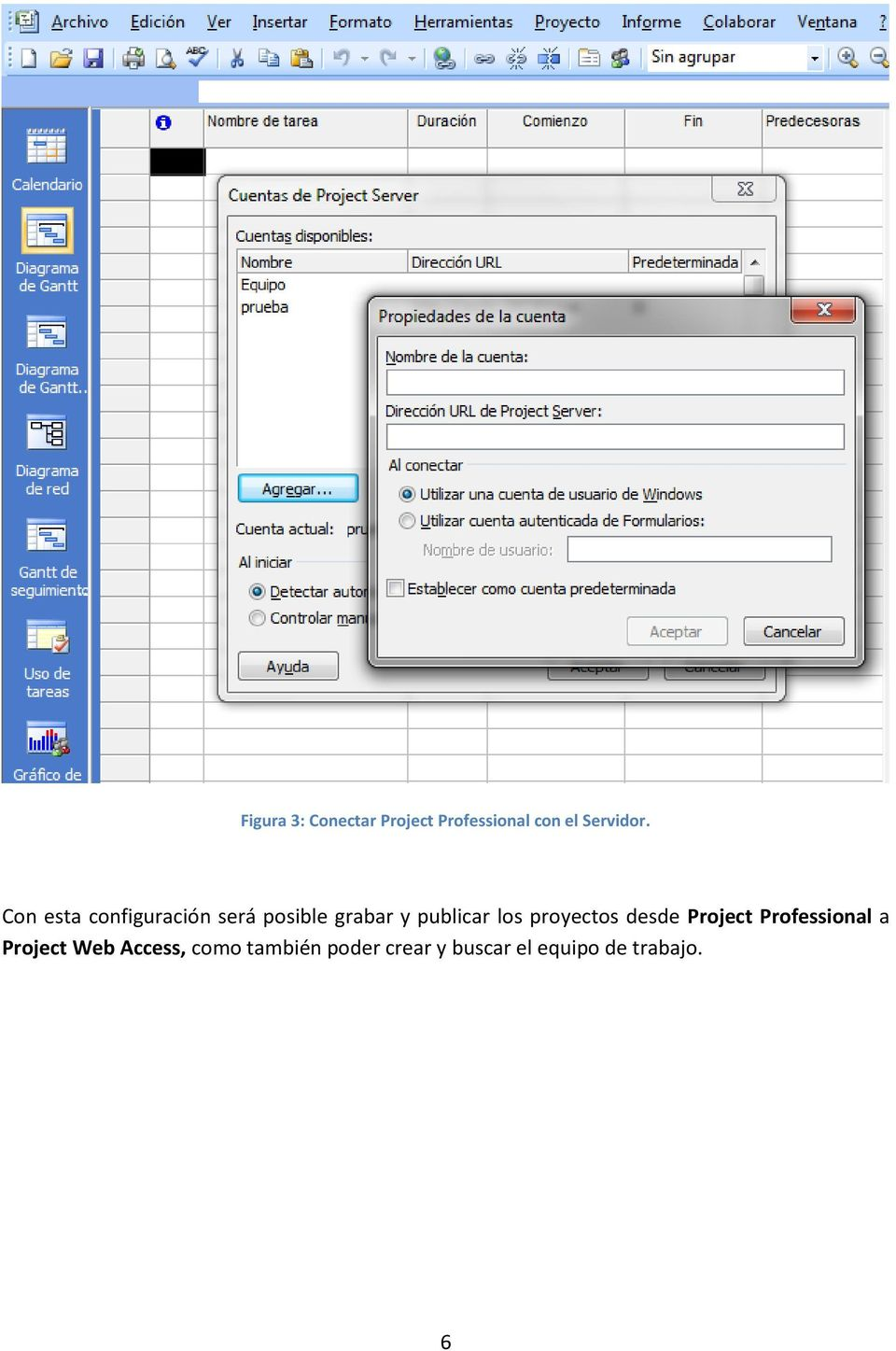 proyectos desde Project Professional a Project Web