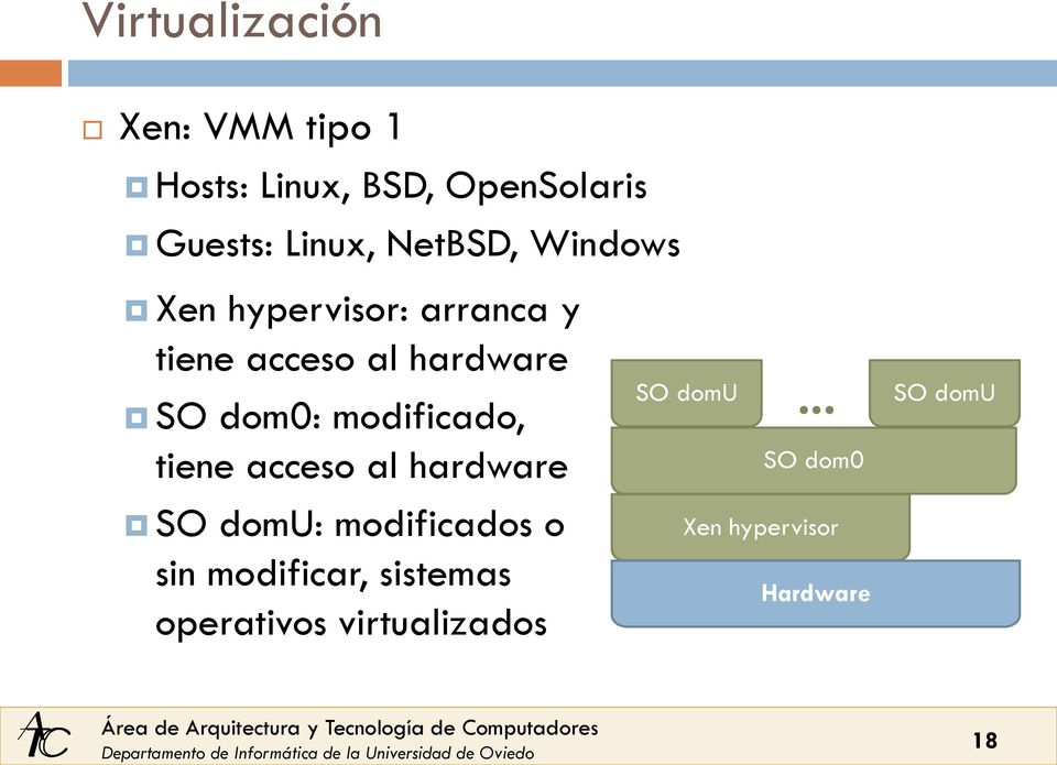 modificado, tiene acceso al hardware SO domu: modificados o sin modificar,