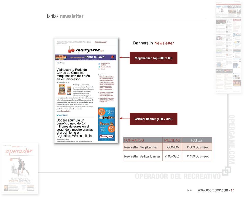 RATES Newsletter Megabanner (600x80) 600,00 /week