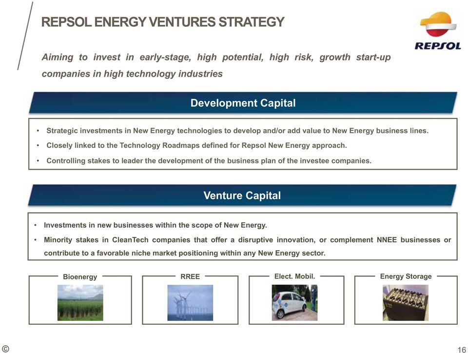 Controlling stakes to leader the development of the business plan of the investee companies. Venture Capital Investments in new businesses within the scope of New Energy.