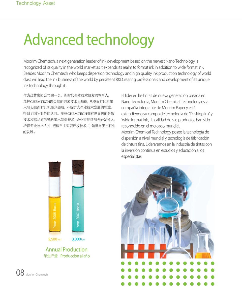 Besides Moorim Chemtech who keeps dispersion technology and high quality ink production technology of world class will lead the ink business of the world by persistent R&D, rearing professionals and