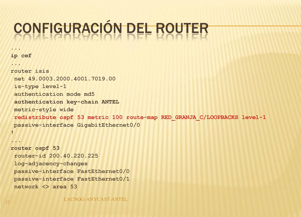 ospf 53 metric 100 route-map RED_GRANJA_C/LOOPBACKS level-1 passive-interface GigabitEthernet0/0!