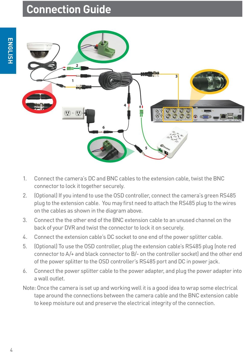 Connect the the other end of the BNC extension cable to an unused channel on the back of your DVR and twist the connector to lock it on securely. 4.