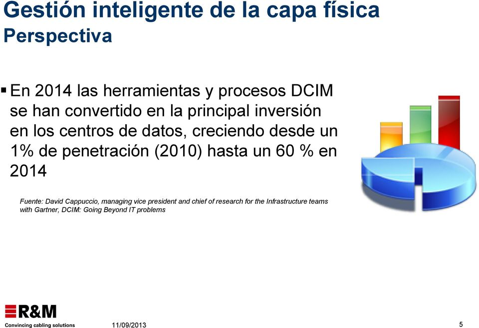 penetración (2010) hasta un 60 % en 2014 Fuente: David Cappuccio, managing vice president and