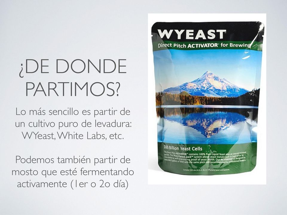 de levadura: WYeast, White Labs, etc.