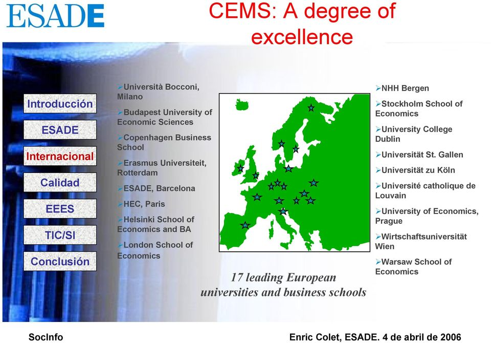 European universities and business schools NHH Bergen Stockholm School of Economics University College Dublin Universität St.