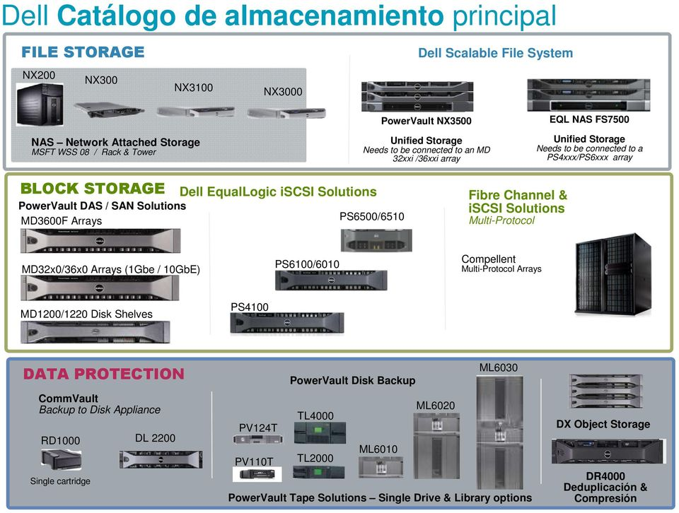 EqualLogic iscsi Solutions PS6500/6510 Fibre Channel & iscsi Solutions Multi-Protocol MD32x0/36x0 Arrays (1Gbe / 10GbE) PS6100/6010 Compellent Multi-Protocol Arrays MD1200/1220 Disk Shelves PS4100