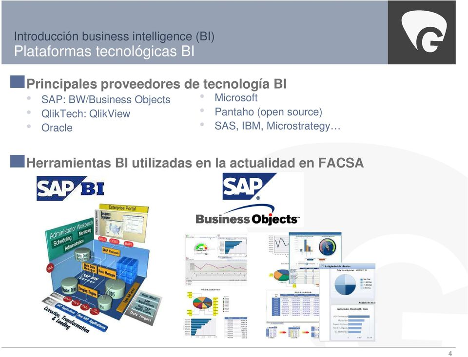 Microsoft QlikTech: QlikView Pantaho (open source) Oracle SAS, IBM,