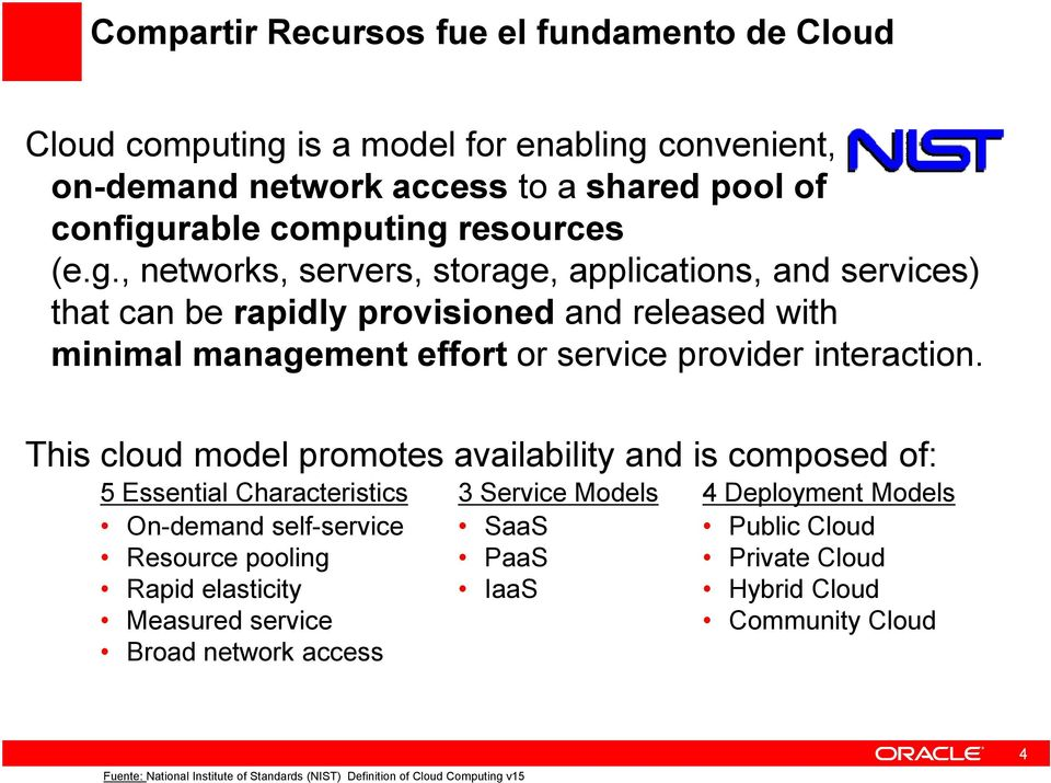 This cloud model promotes availability and is composed of: 5 Essential Characteristics On-demand self-service Resource pooling Rapid elasticity Measured service Broad network